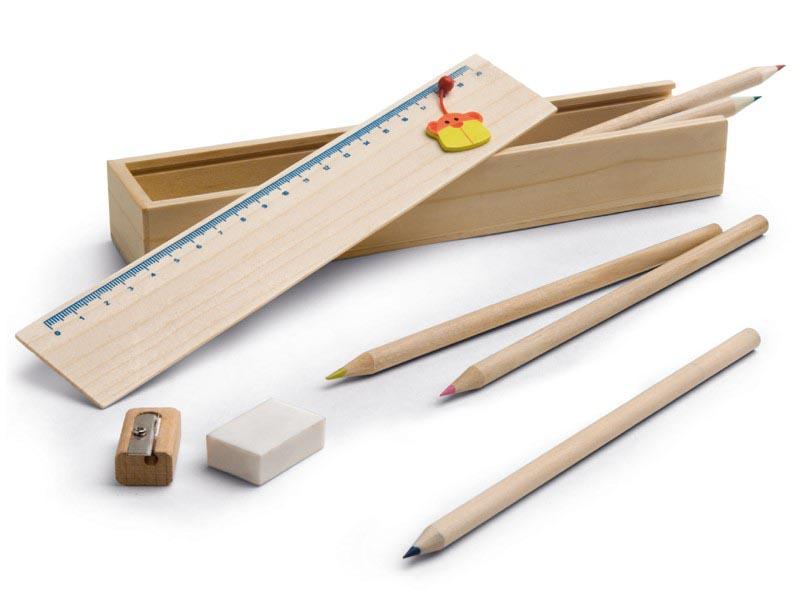 Doodle houten doosje met 6 kleurpotloden