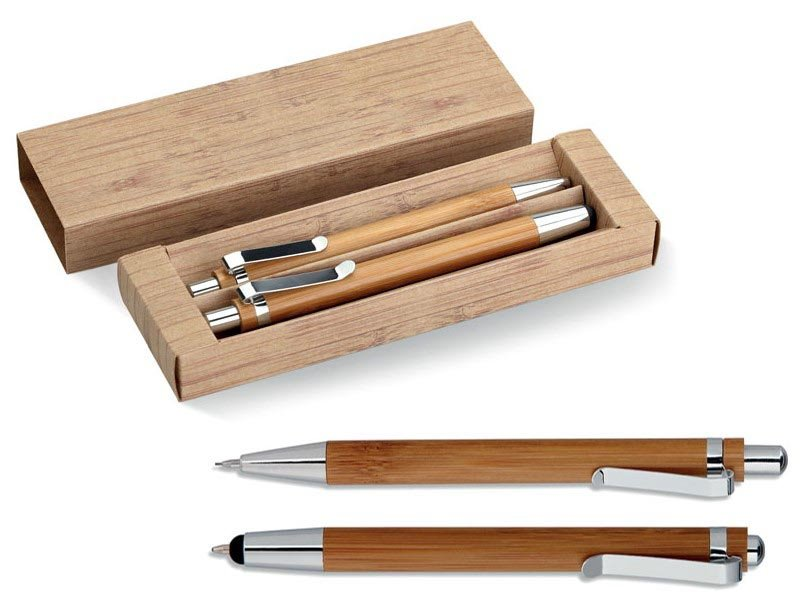 Bamboe pen en potloodset