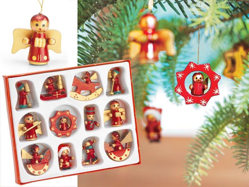 Set van 12 houten kerstboomhangers