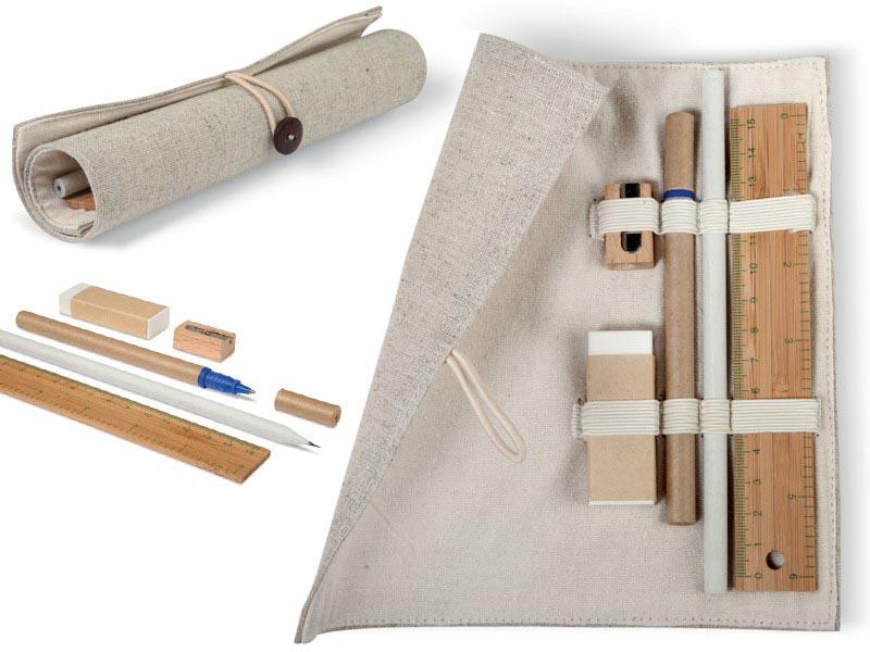 Bureauset bamboe in een jute en katoenen hoes