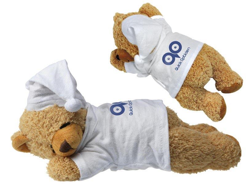 Pluche beer met badjas en slaapmuts