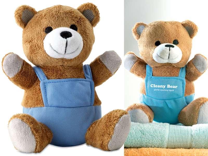 Pluchen teddybeer met kleurrijke outfit