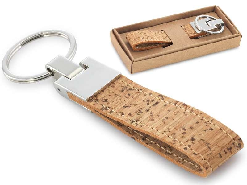 Sleutelhanger van kurk en metaal in geschenkdoos