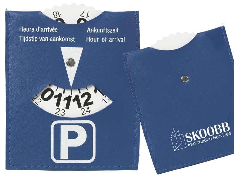 Parkeerschijf van blauw imitatieleer hubs
