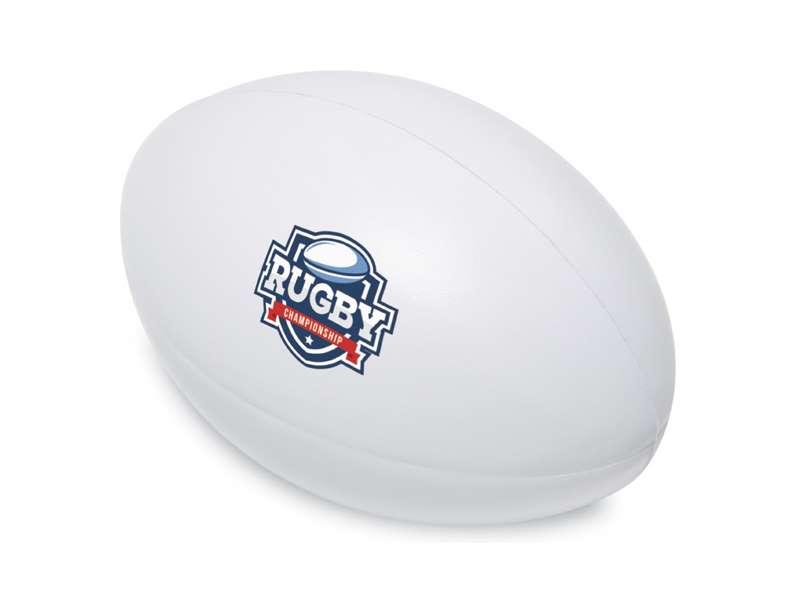 Anti-stress van pu in de vorm van een rugbybal