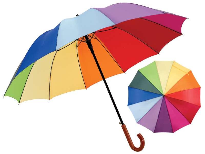 Automatische regenboog-golfparaplu met 12 panelen