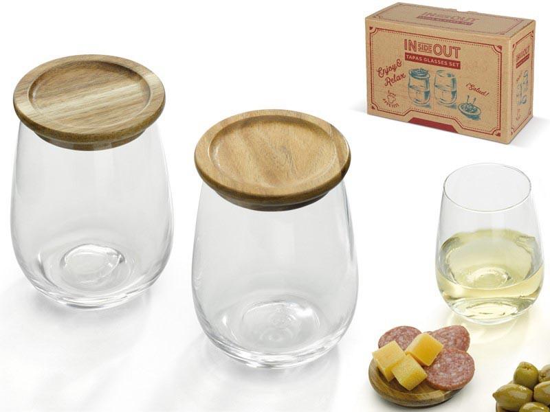 Set van 2 glazen met acacia houten deksel
