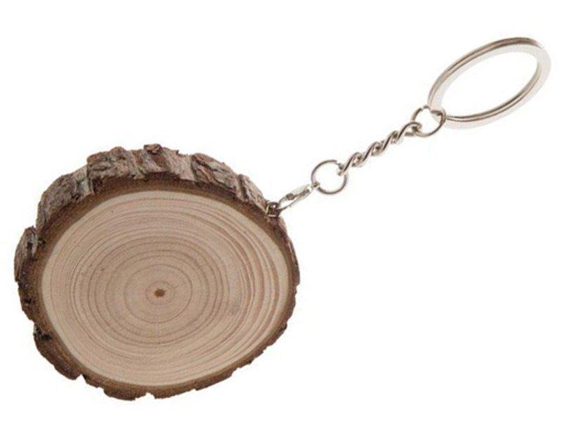 Houten sleutelhanger met schors en metalen ring