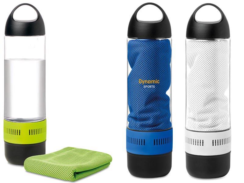 Sportfles met draadloze luidspreker en handdoek