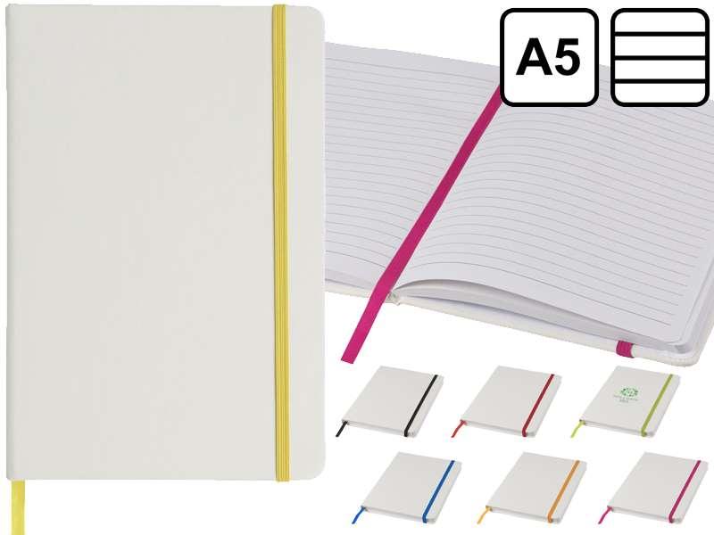Witte a5 notitieboek met gekleurde sluiting
