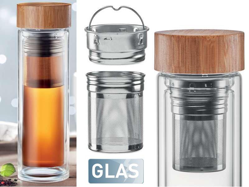 Dubbelwandige glazen drinkfles 420 ml