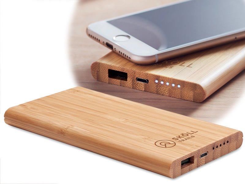 Draadloze bamboe powerbank 6000 mah