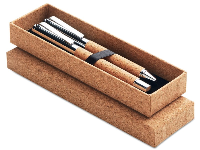 Metalen schrijfset in kurken giftbox