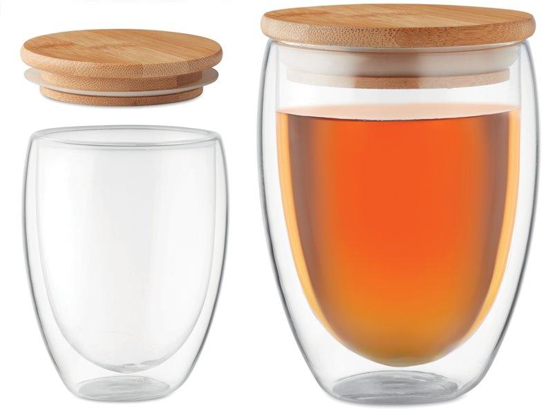 Dubbelwandig drinkglas met bamboe deksel 350 ml