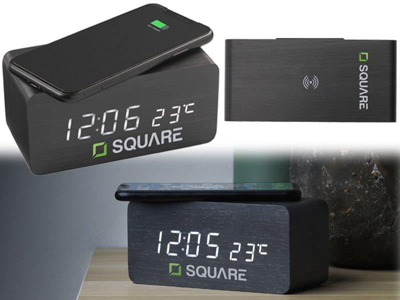 Draadloze oplader met digitale alarmklok