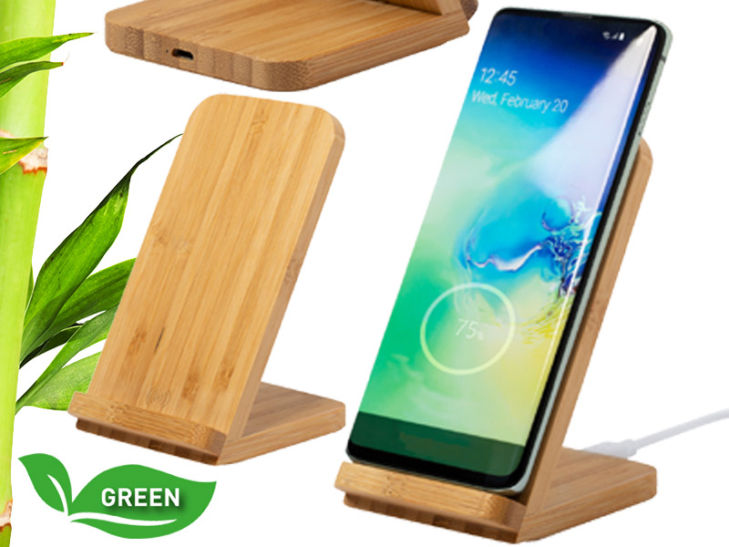 Bamboe draadloze oplader met telefoonhouder dimpe
