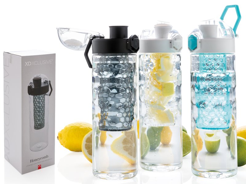 Honey afsluitbare lekvrije waterfles met infuser