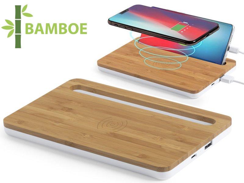 Bamboe draadloze organizer oplader trons 100 mah