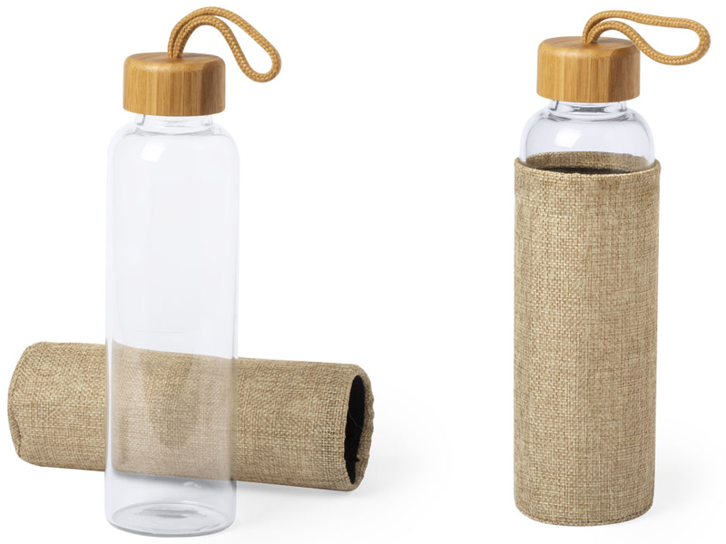 Glazen fles met bamboe stop kasfol 500 ml