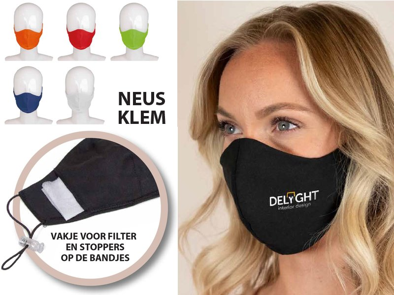 Mondmasker katoen 3 laags made in europa