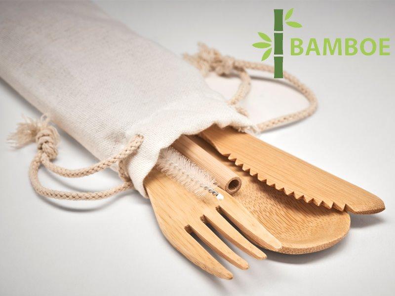 Bamboe bestekset met rietje straw