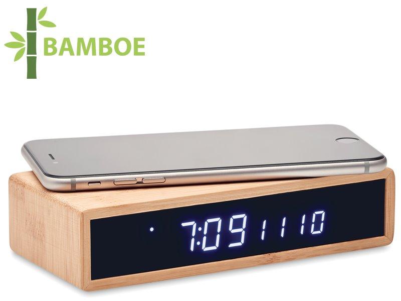 Bamboe alarmklok en draadloze oplader moro
