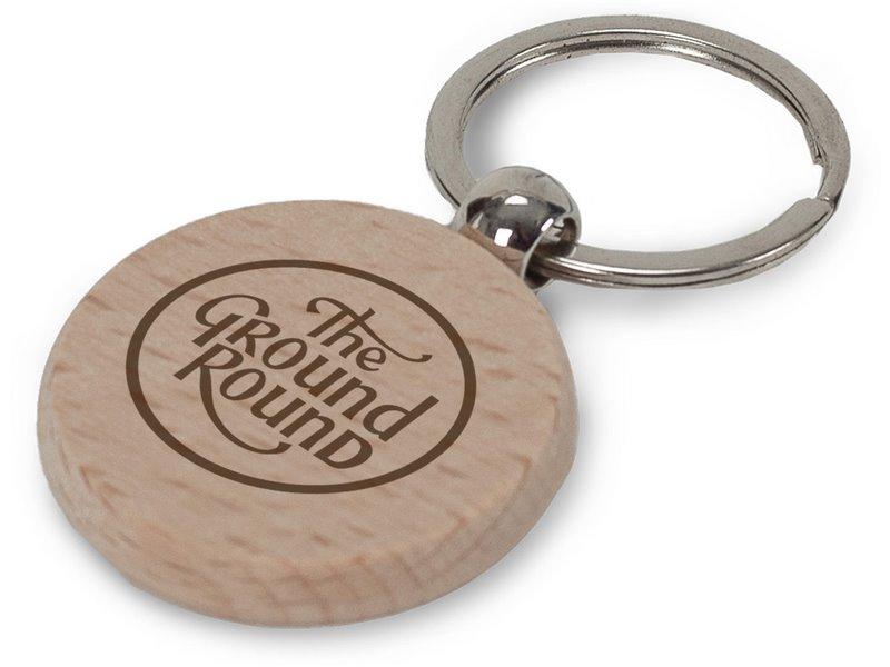 Sleutelhanger hout rond
