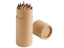 Cylinder potlodendoosje met 12 kleurpotloden