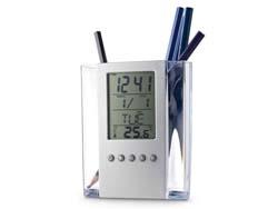 Pennenhouder met klokje en thermometer