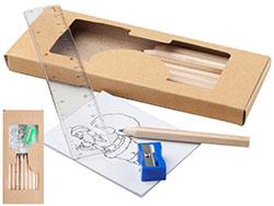 Tekenset met 10 delige potlodenset, puntenslijper