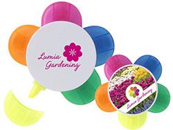 Markeerstift met 5 verschillende kleuren bloem