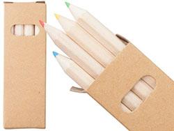 Set van vier kleurpotloden in papieren doosje