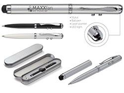 Metalen 4 in 1 balpen incl.laserpen,stylus en lamp