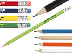 Geslepen, houten (hb) potlood met gum. per 6 stuks
