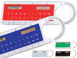 Liniaal 10 cm met solar calculator en loepe