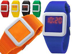 Siliconen horloge met led display. ultra dun