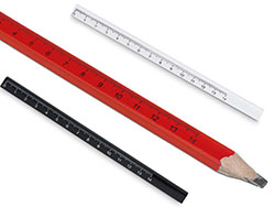Timmermanspotlood met liniaal, 14 cm