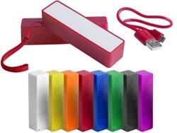 Plastic usb powerbank met 2000 mah batterij