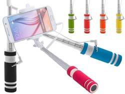 Rvs stalen selfie stick met knop camera bediening