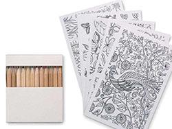 Set van 10 tekenkaarten met 12 kleurpotloden