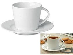 Porseleinen conische cappuccino kop met schotel
