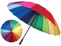 Golfparaplu in regenboogkleuren met 16 panelen