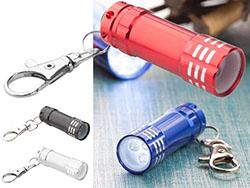 Aluminium zaklamp met 3 led lampen en karabijnhaak