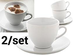 Cappuccino set met 2 kopjes en schoteltjes
