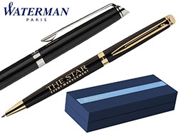 Blauwschrijvende, zwarte stalen waterman balpen