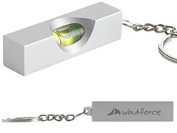 Sleutelhanger met waterpas in aluminium behuizing