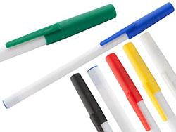 Plastic balpen met witte schacht en gekleurde dop