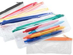 Transparanten pennenetui met gekleurde rits, pvc