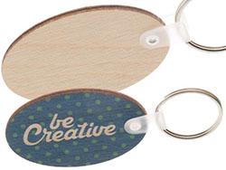 Ovale, gelamineerde berkenhouten sleutelhanger