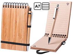 Bamboe notitieboek b7 en bamboe pen